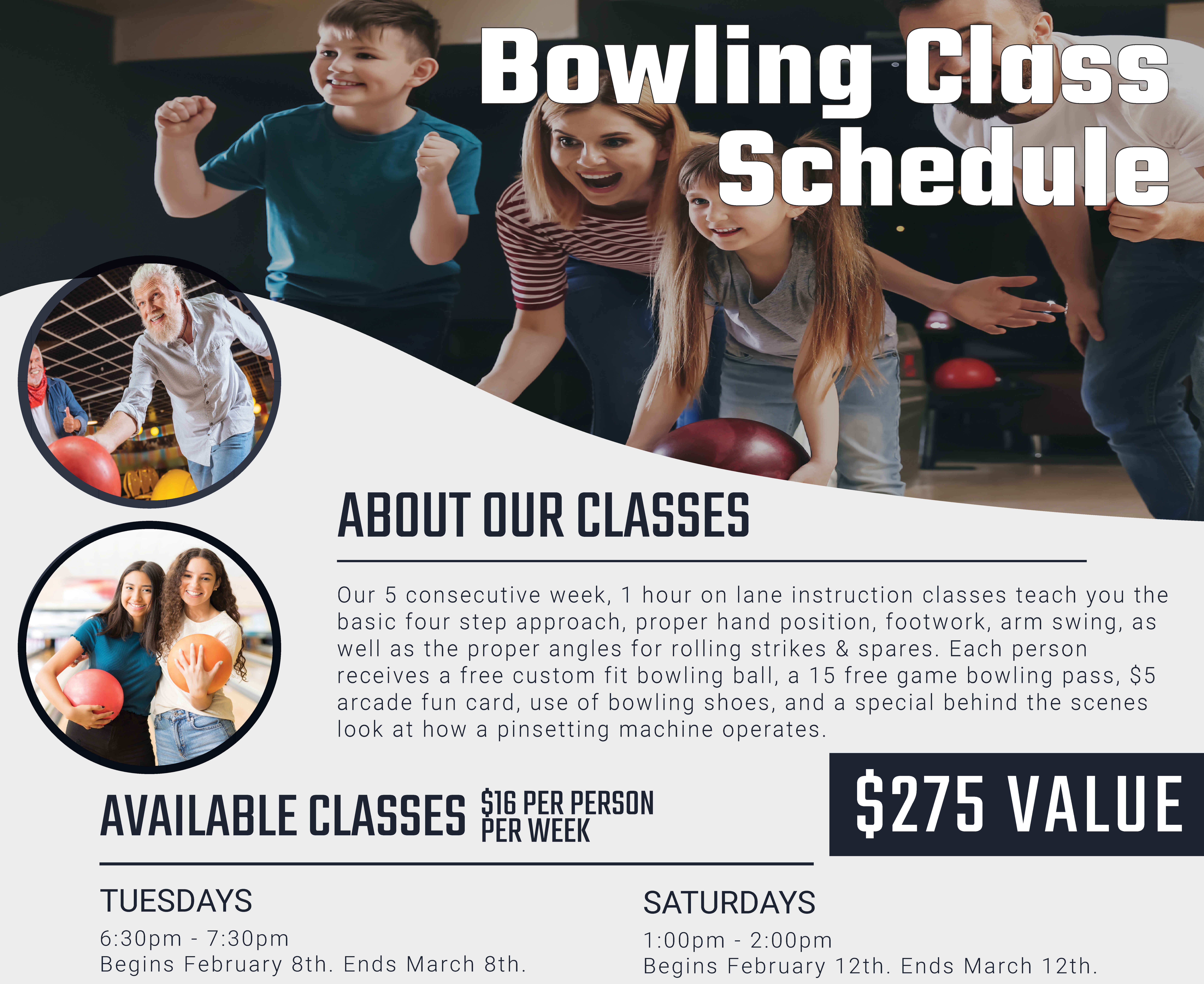 Bowling lessons and classes for everyone schedule and information