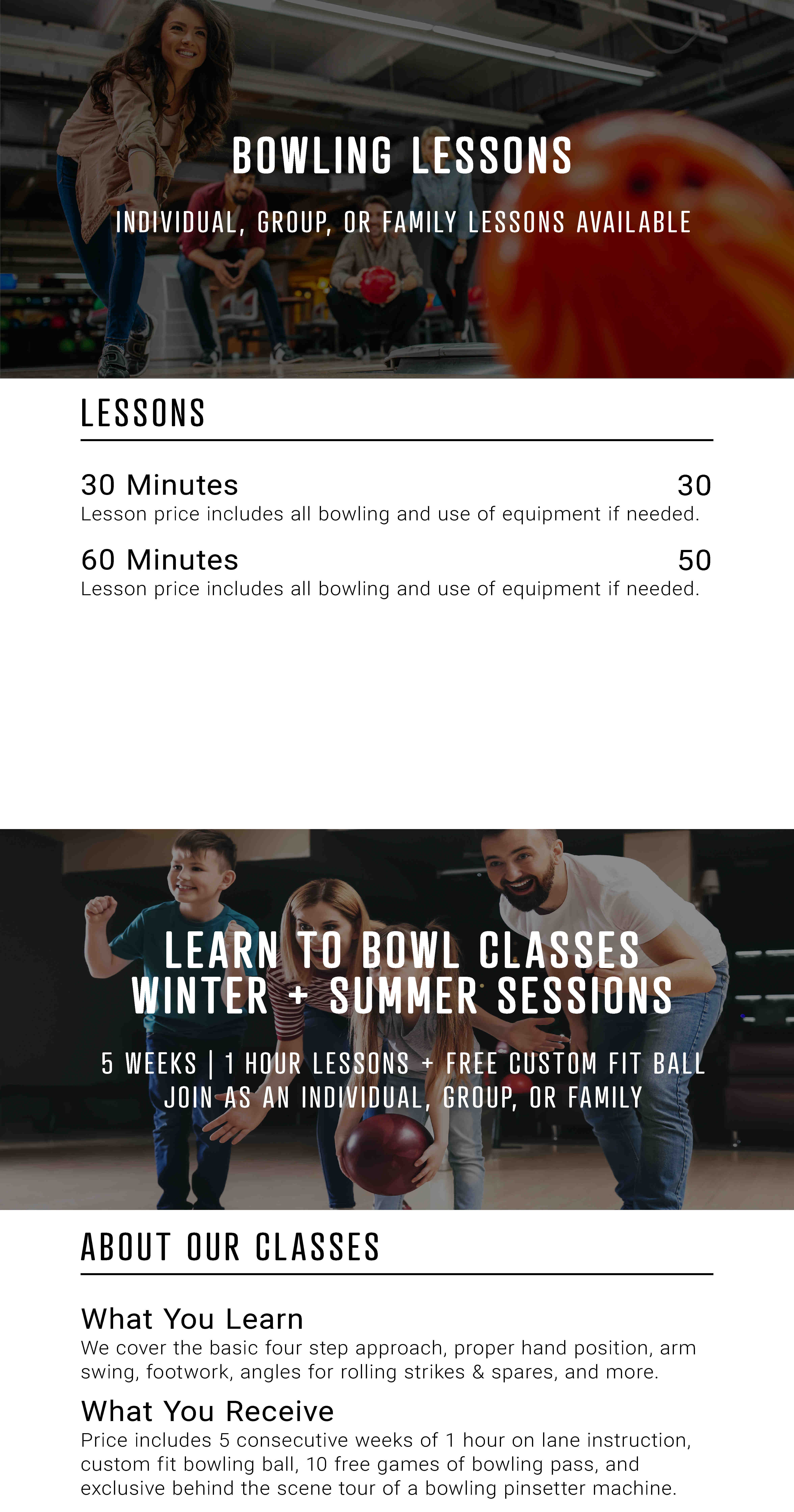 Bowling lessons and classes