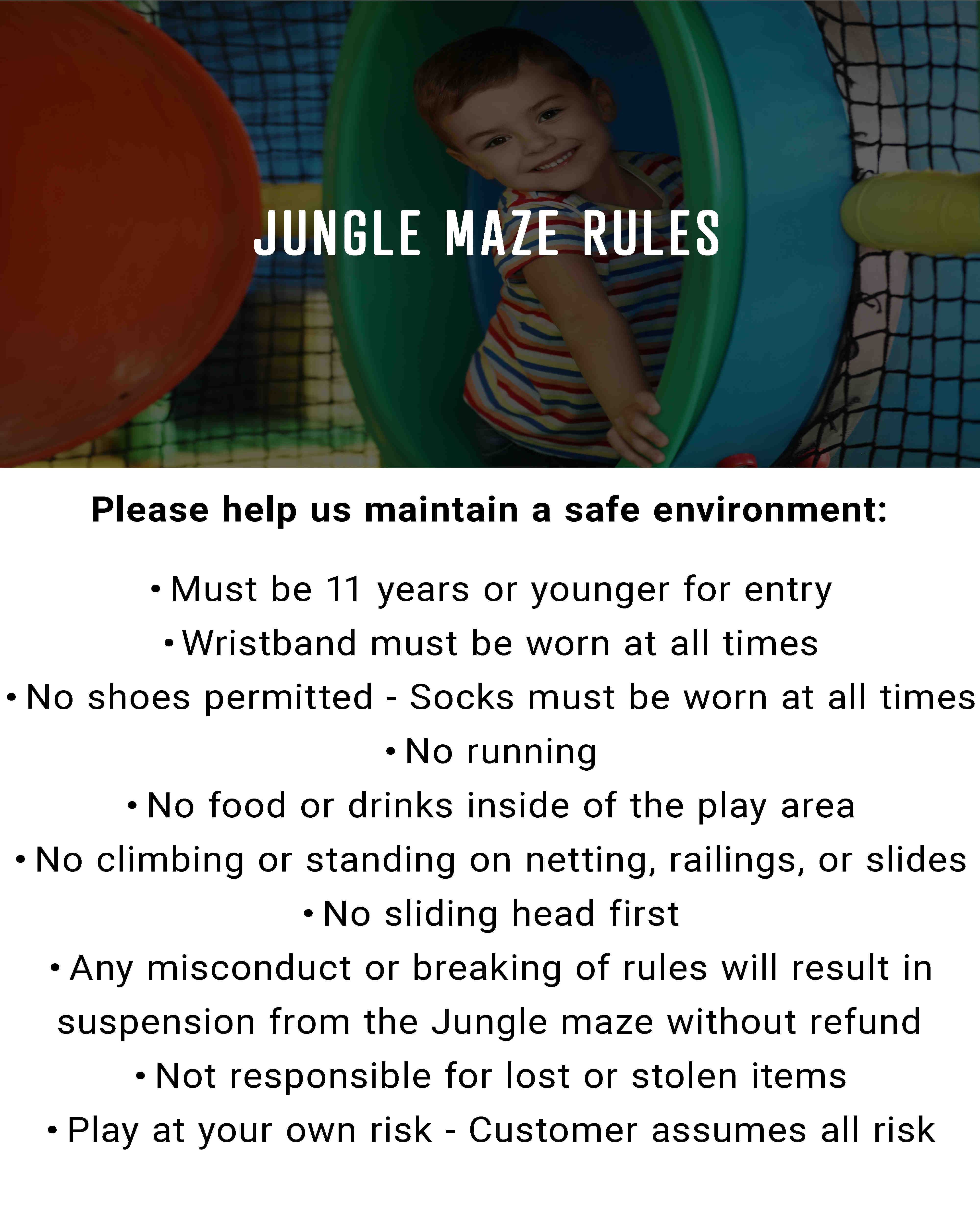 Jungle maze play structure rules