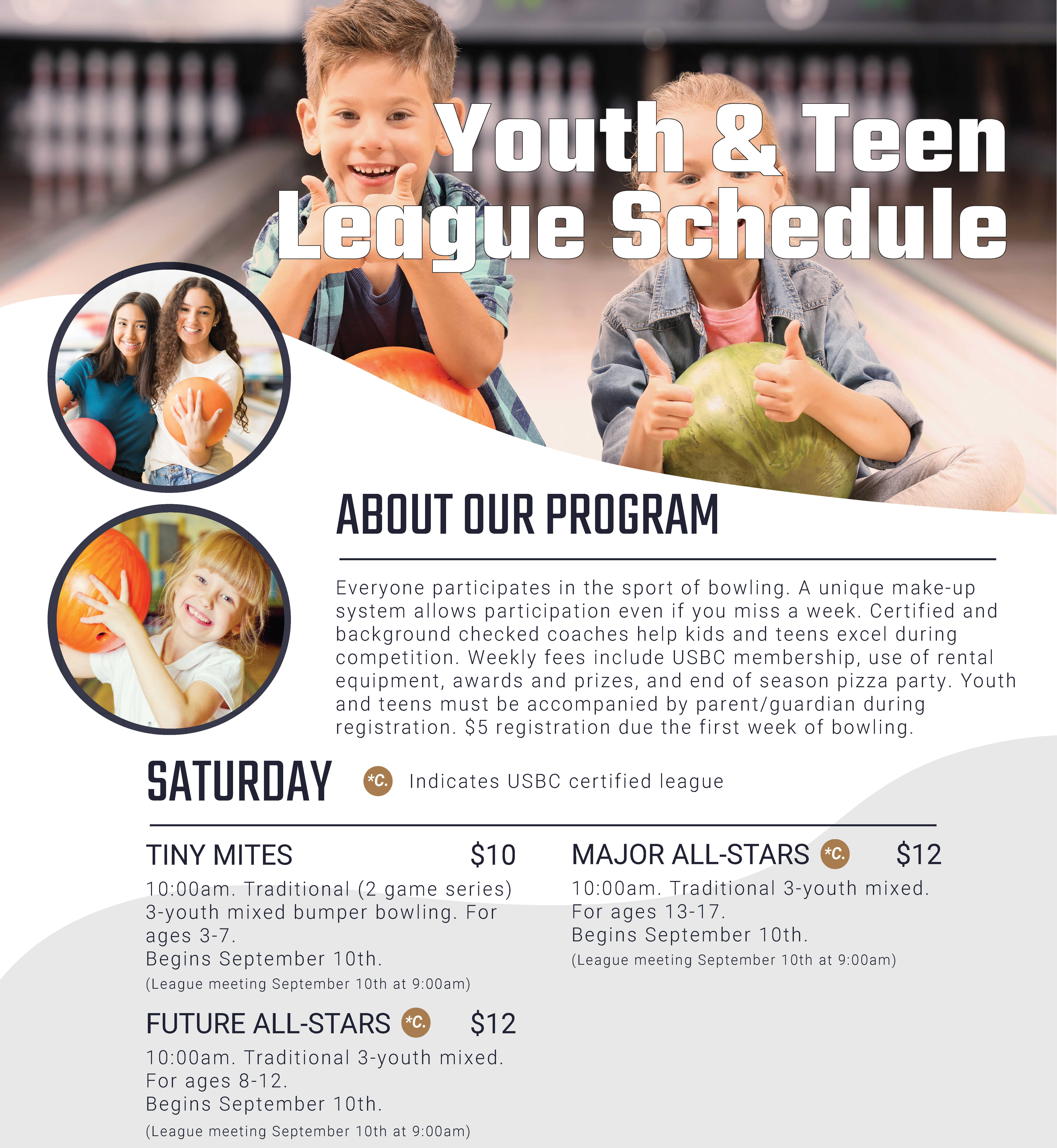 Youth and teen program and league schedule